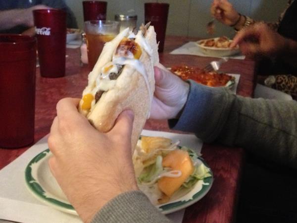 Shredded steak sandwich